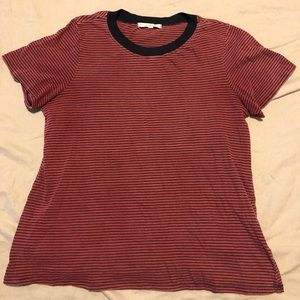 Truly madly deeply rust and black striped tee M